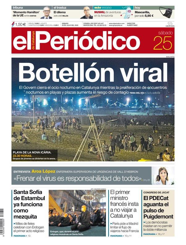 La portada de EL PERIÓDICO del 25 de julio del 2020