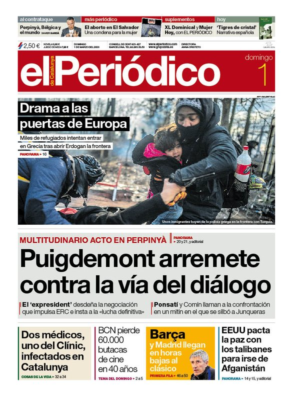 La portada de EL PERIÓDICO del 1 de marzo del 2020.