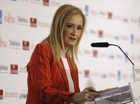 La presidenta de Madrid, Cristina Cifuentes, en una intervención pública reciente en un desayuno informativo en Madrid.
