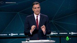 El presidente del Gobierno, Pedro Sánchez, durante el debate.