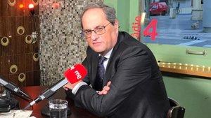 Quim Torra, durante la entrevista en Ràdio 4.