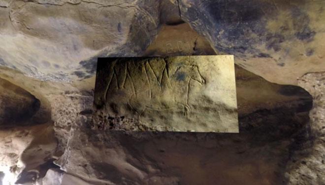 Escaneado realizado a uno de los grabados encontrados enla cueva de la Font Major en l'Espluga de Francolí.