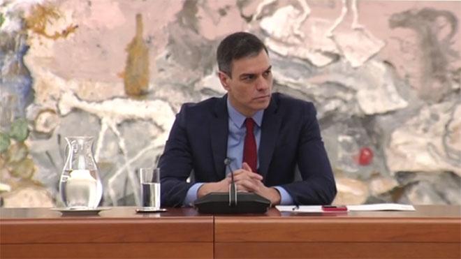 Reunión del comité de gestión de la crisis del coronavirus, presidido por Pedro Sánchez (en la foto).