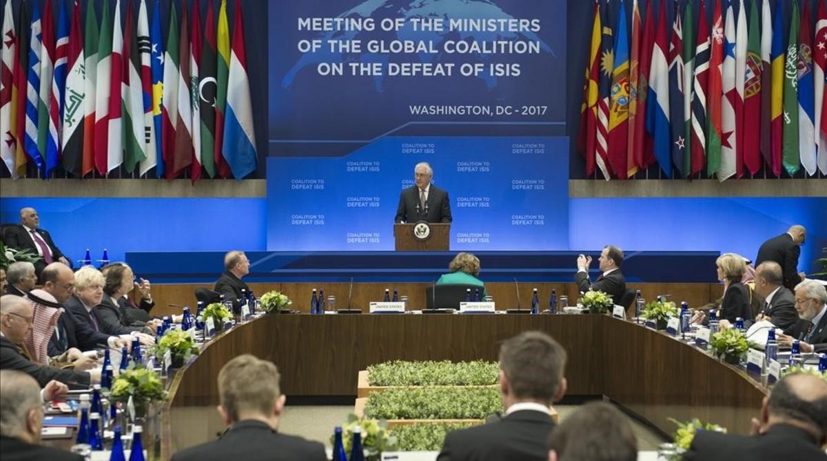 El secretario de Estados de EEUU,Rex Tillerson, durante su intervención en la cumbre de ministros de Exterioresde la Coalición Global para Derrotar al Estado Islámico.