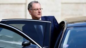 Richard Ferrand sale del Elíseo tras el Consejo de Ministros de estemartes.