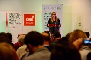 Lalcaldessa de Rubí, Ana María Martínez, aquest divendres24 durantla inauguracióde la quarta ediciódel congrés Rubí Brilla.