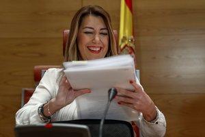 La presidenta de la Junta de Andalucía, Susana Díaz, durante la comparecencia en la comisión de investigación del Senado.