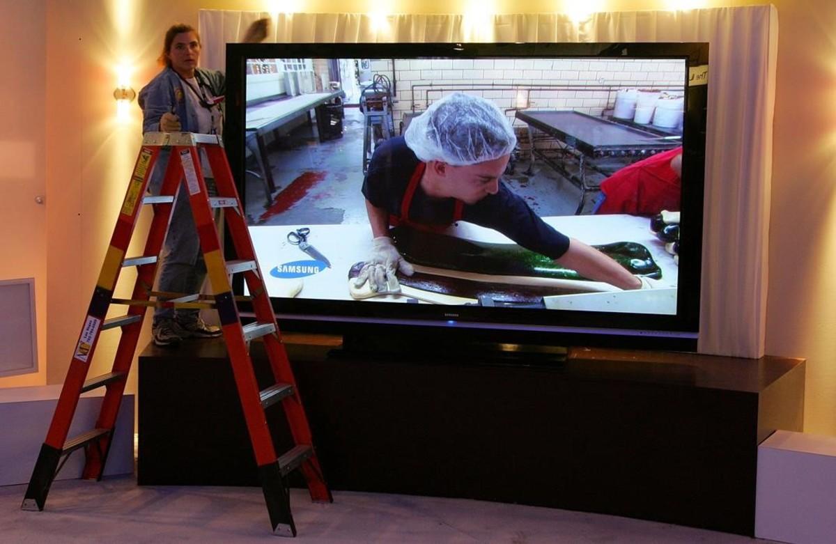 Espectacular imagen del televisor de plasma de 102 pulgadas que Samsung presentó en Las Vegas en el 2006.