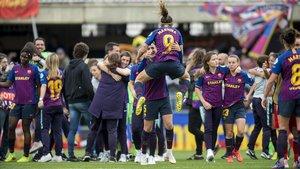 Las chicas del Barça celebrando el pase a la final de la Champions.