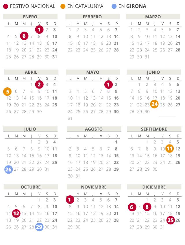 Calendario laboral de Girona del 2021 (con todos los festivos)