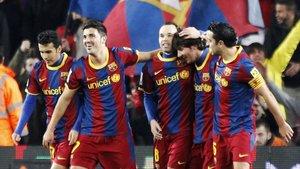 Enero del 2011. Pedro, Villa, Iniesta, Messi y Xavi celebrando un gol en el Camp Nou.