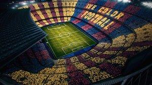 Simulación del mosaico que tendrá lugar en el Camp Nou el próximo domingo.