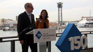 La presidenta del Port de Barcelona,MercèConesa, ysudirector general,JoséAlberto Carbonell.
