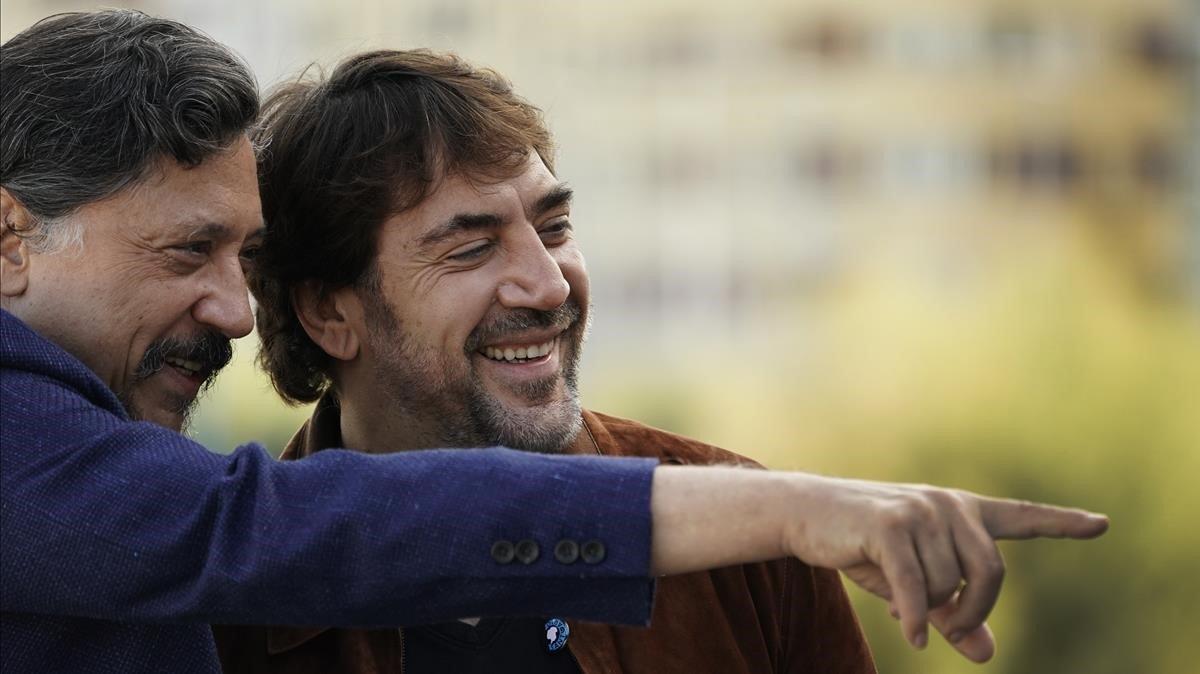 Carlos y Javier Bardem, en San Sebastián.