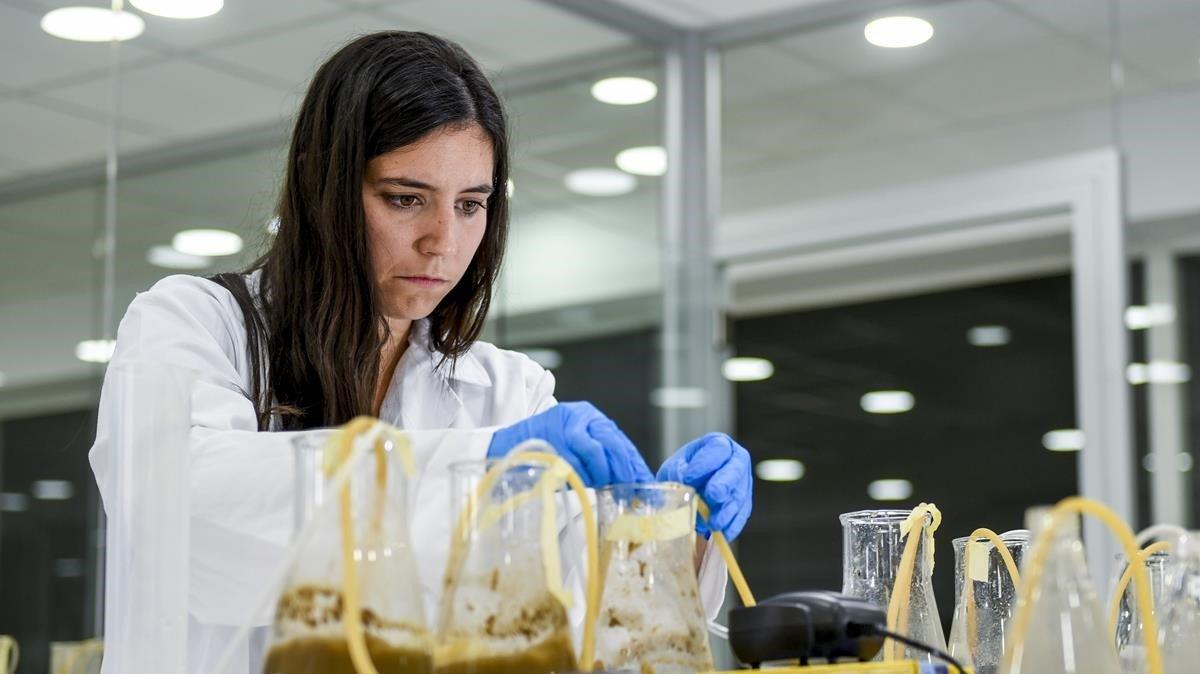 Patricia Aymà, finalista del Young Champions of the Earth', en el laboratorio de VEnvirotech.