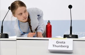 La activista sueca Greta Thunberg, en la cumbre del clima de Madrid.