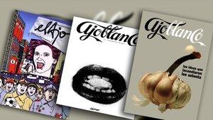 Tres portadas de la desaparecida revista 'Ajoblanco', que ya se puede consultar en internet.