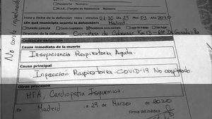Parte de defunción de una interna de la residencia Doctor González Bueno de Madrid.
