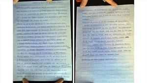 La carta manuscrita de Jordi Cuixart a Jordi Évole.