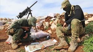 Milicianos del Ejército Libre Sirio, aliado de Turquía, cerca de Salwah, en Afrín