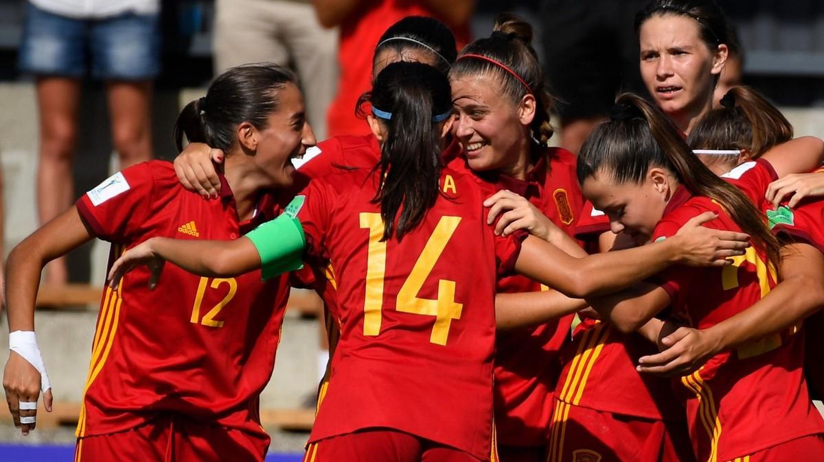 Las jugadoras españolas celeban un gol ante Estados Unidos.