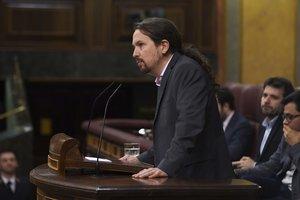 El líder de Unidas Podemos, Pablo Iglesias, en el debate de investidura