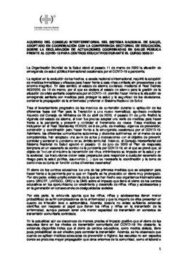Acuerdo de la conferencia multisectorial de Educación y Sanidad.