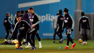 El entrenamiento del Barça.