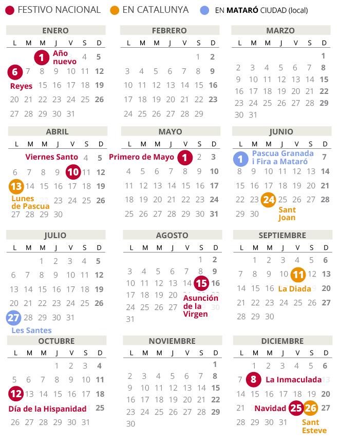 Calendario laboral de Mataró del 2020.
