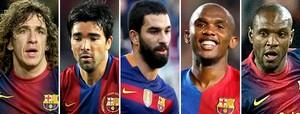 CarlesPuyol, Deco, Arda Turan, Eto'o y Eric Abidal.