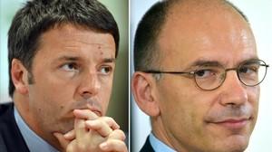 Combo de imágenes de Matteo Renzi (izq) y Enrico Letta.