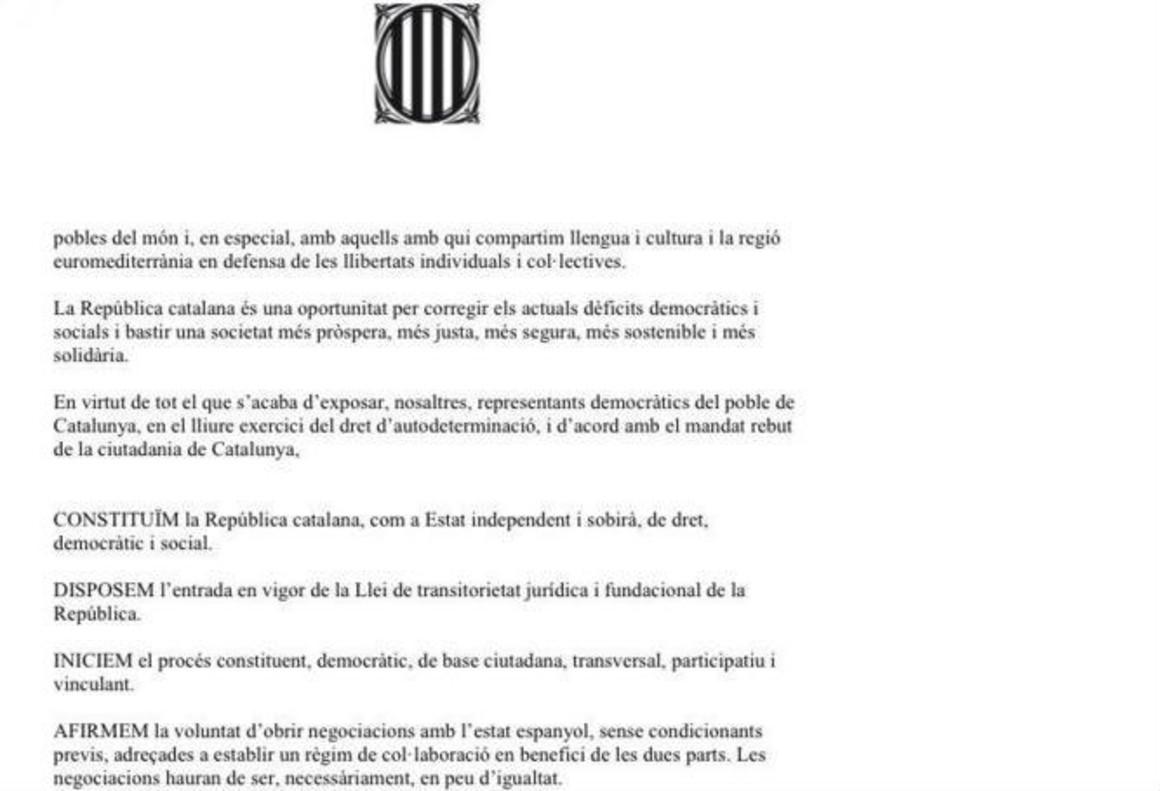 La declaración de independencia de Catalunya de Junts pel Sí y la CUP