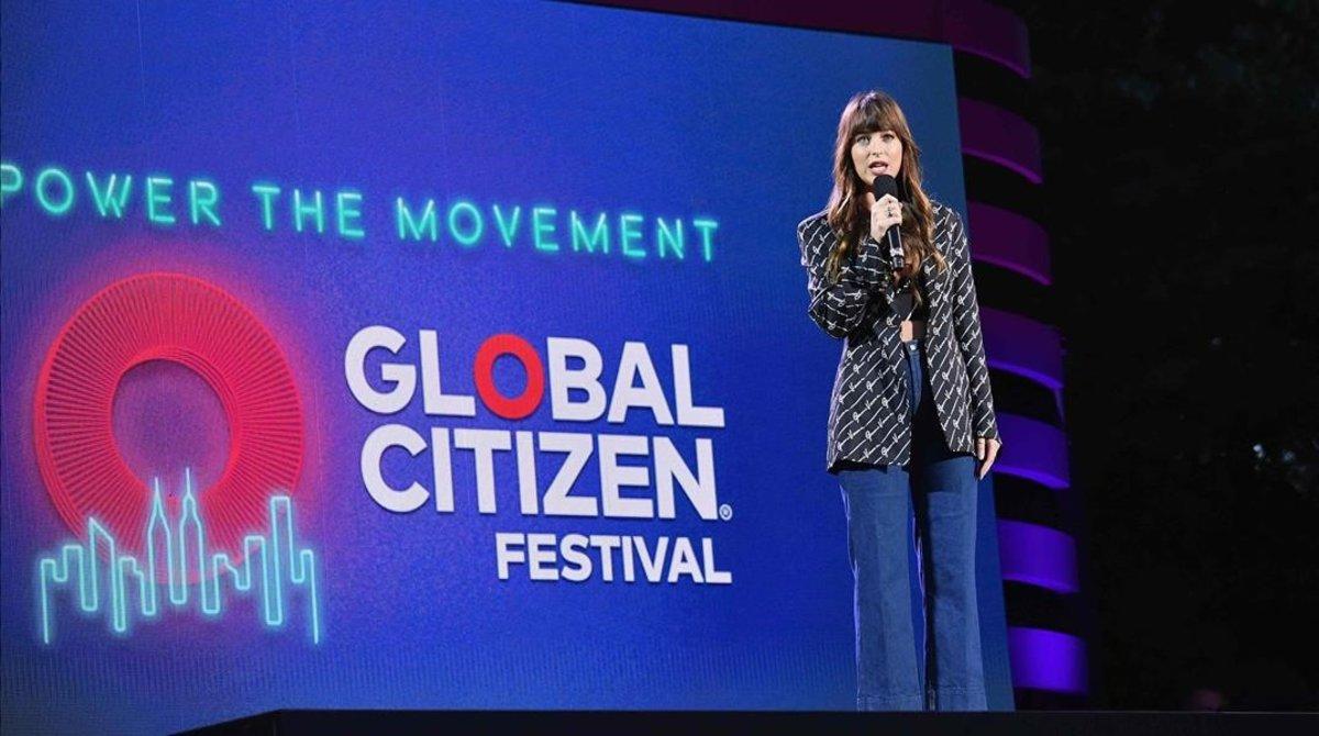 Dakota Johnson, durante su presentación en la Global Citizen Festival, que tuvo lugar en Nueva York, el pasado 28 de septiembre.