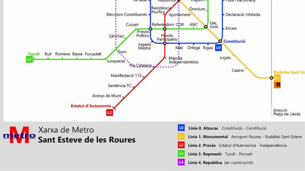 Detalle del plano de las líneas de metro de Sant Esteve de les Roures.