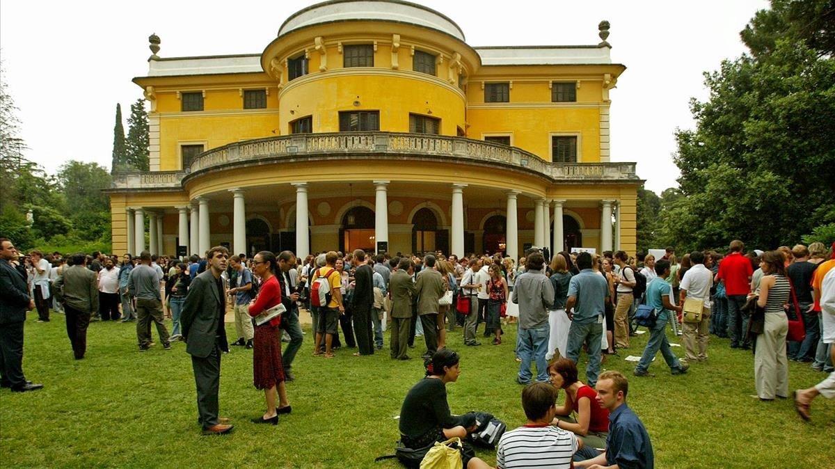 Recepción a los estudiantes de Erasmus en Barcelona, en una imagen de archivo.