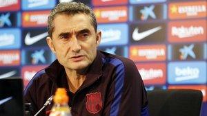 Ernesto Valverde, en la rueda de prensa anterior al partido contra el Celta.