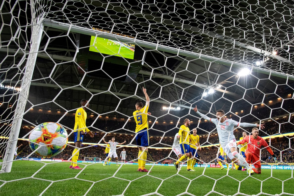 Soccer Football - Euro 2020 Qualifier - Group F - Sweden v Spain - Solna, Stockholm, Sweden - October 15, 2019. Spain's Rodrigo celebrates after scoring. TT News Agency/Jessica Gow/via REUTERS ATTENTION EDITORS - THIS IMAGE WAS PROVIDED BY A THIRD PARTY. SWEDEN OUT. NO COMMERCIAL OR EDITORIAL SALES IN SWEDEN.