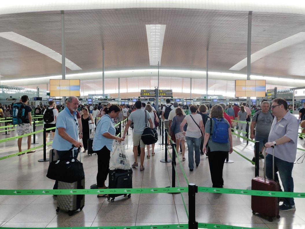 10/08/2019 Filtro de seguridad en la T1 del Aeropuerto de Barcelona