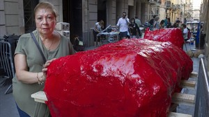 Rosa Comellas, en la calle de la Llibertat.