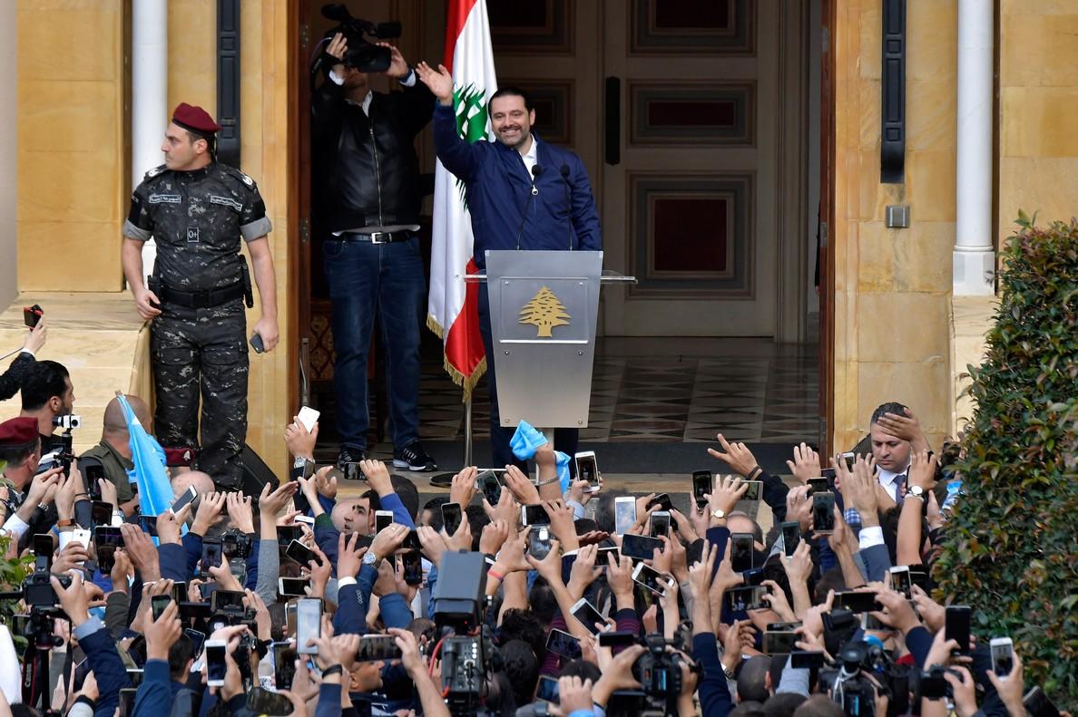 El primer ministro libanés, Saad Hariri, se dirige a sus simpatizantes en Beirut, el Líbano.