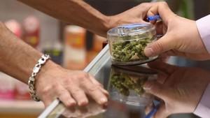 Un hombre vende a otro cogollos de cannabis en una tienda de California (EEUU), el pasado 1 de enero.