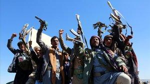 Miembros de la milicia hutí en una fota de archivo.