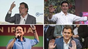 Mariano Rajoy, Pedro Sánchez, Pablo Iglesias y Albert Rivera, respectivamente.