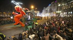 Cabalgata de Reyes en Plaza Catalunya