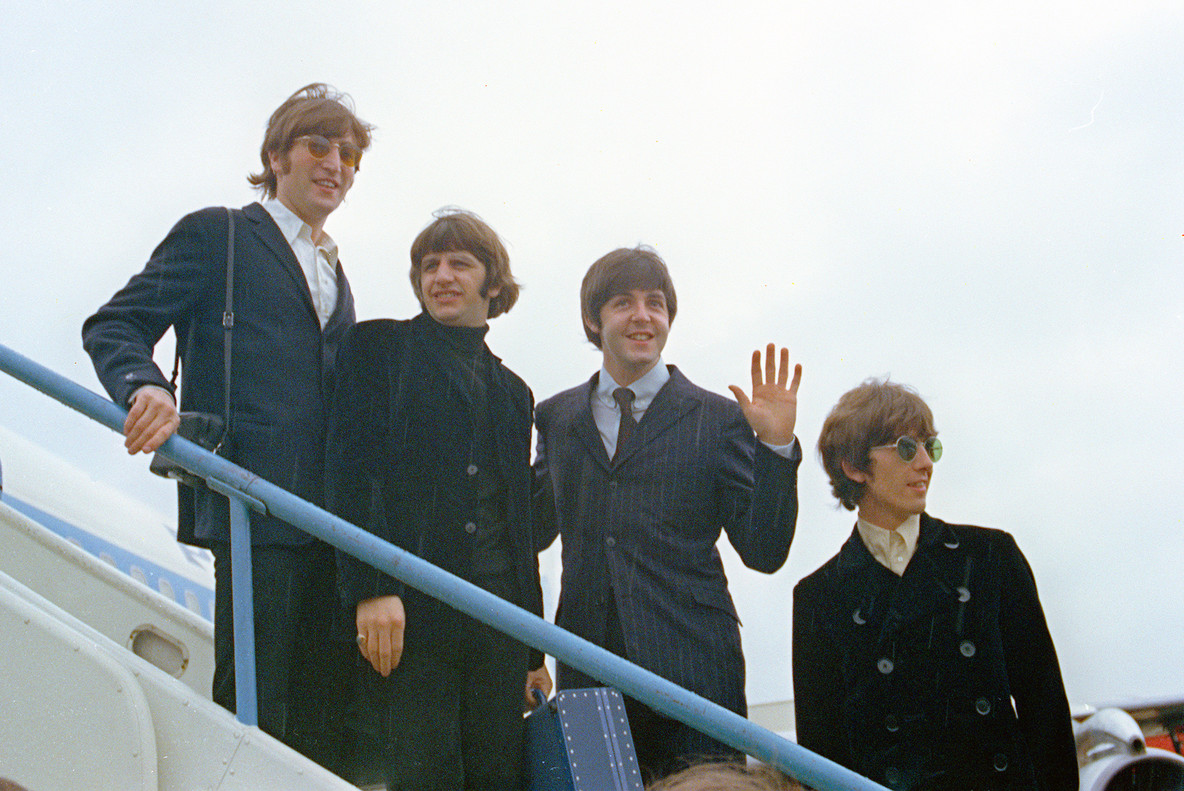 Los Beatles, en Londres, antes de viajar a EEUU y Canadá en 1966.
