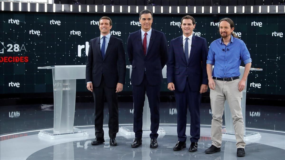 Los cuatro candidatos del debate electoral del TVE.