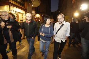 Los diputados de la CUP Benet Salellas, Anna Gabriel y Antonio Baños.