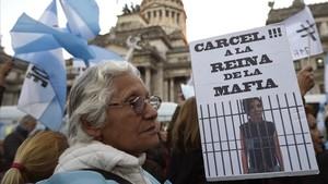 Manifestación en Buenos Aires contra la expresidente Cristina Fernández de Kirchner.