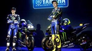 Maverick Viñales y Valentino Rossi, en la presentación del equipo Yamaha Monster, la semana pasada, en Yakarta.