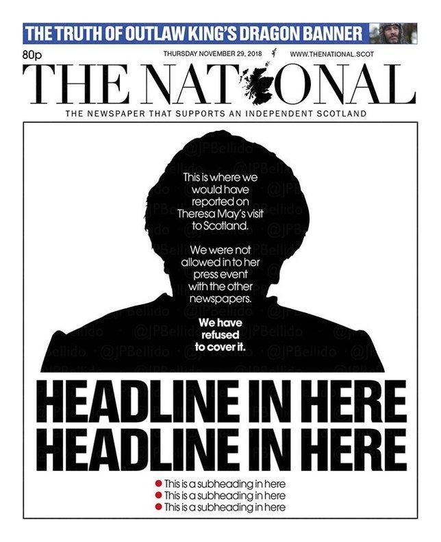 La indignada resposta del diari escocès 'The National' al veto de Theresa May